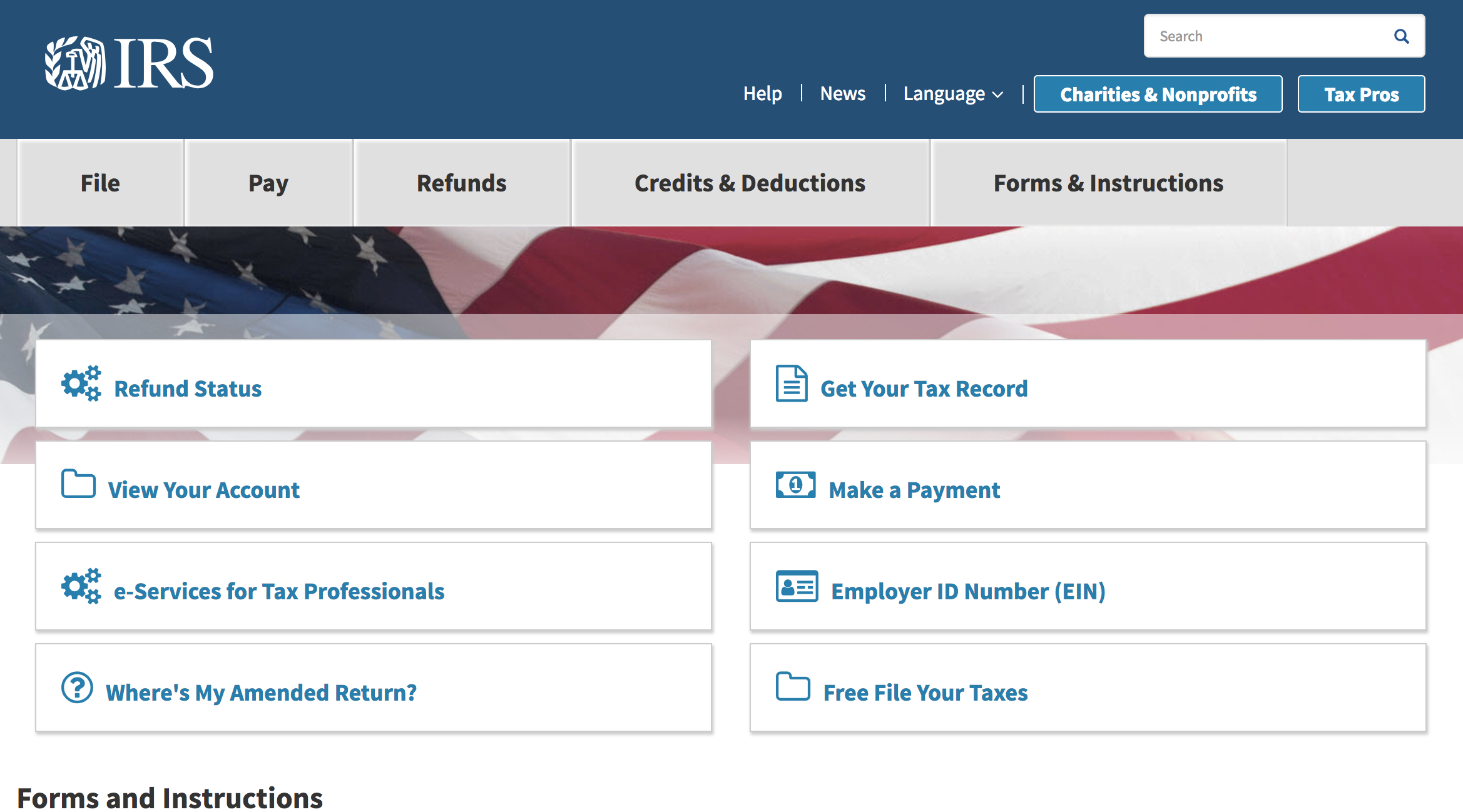 screenshot of the IRS homepage