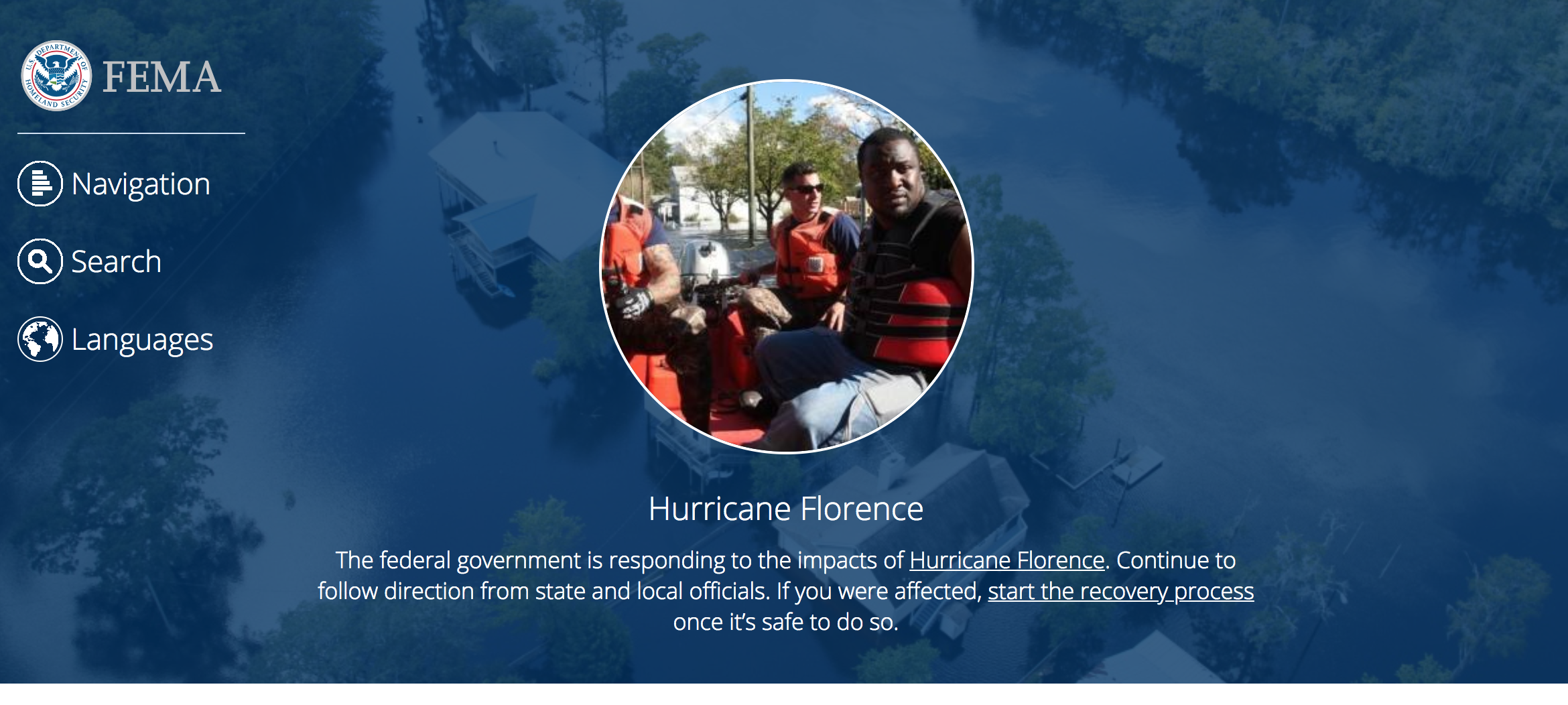 screenshot of the FEMA homepage showing information on Hurricane Florence