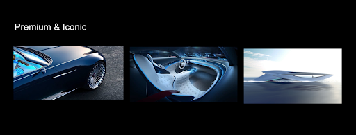 Mood board showing three images of futuristic cars and the words premium and iconic
