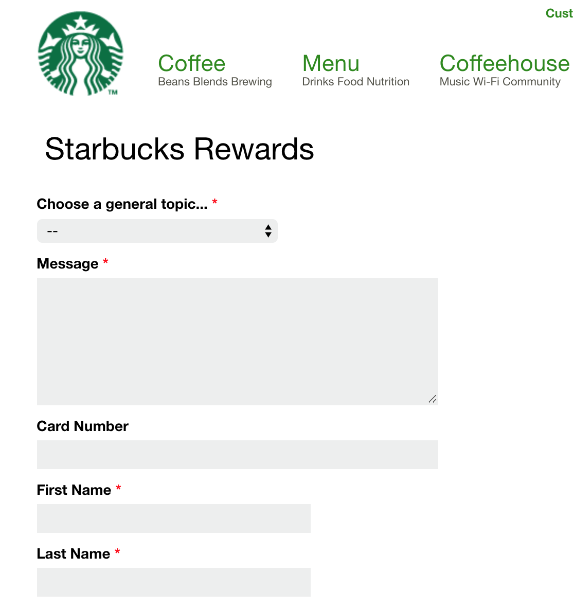 Screenshot of a contact form on the Starbucks website that has separate fields for First Name and Last Name