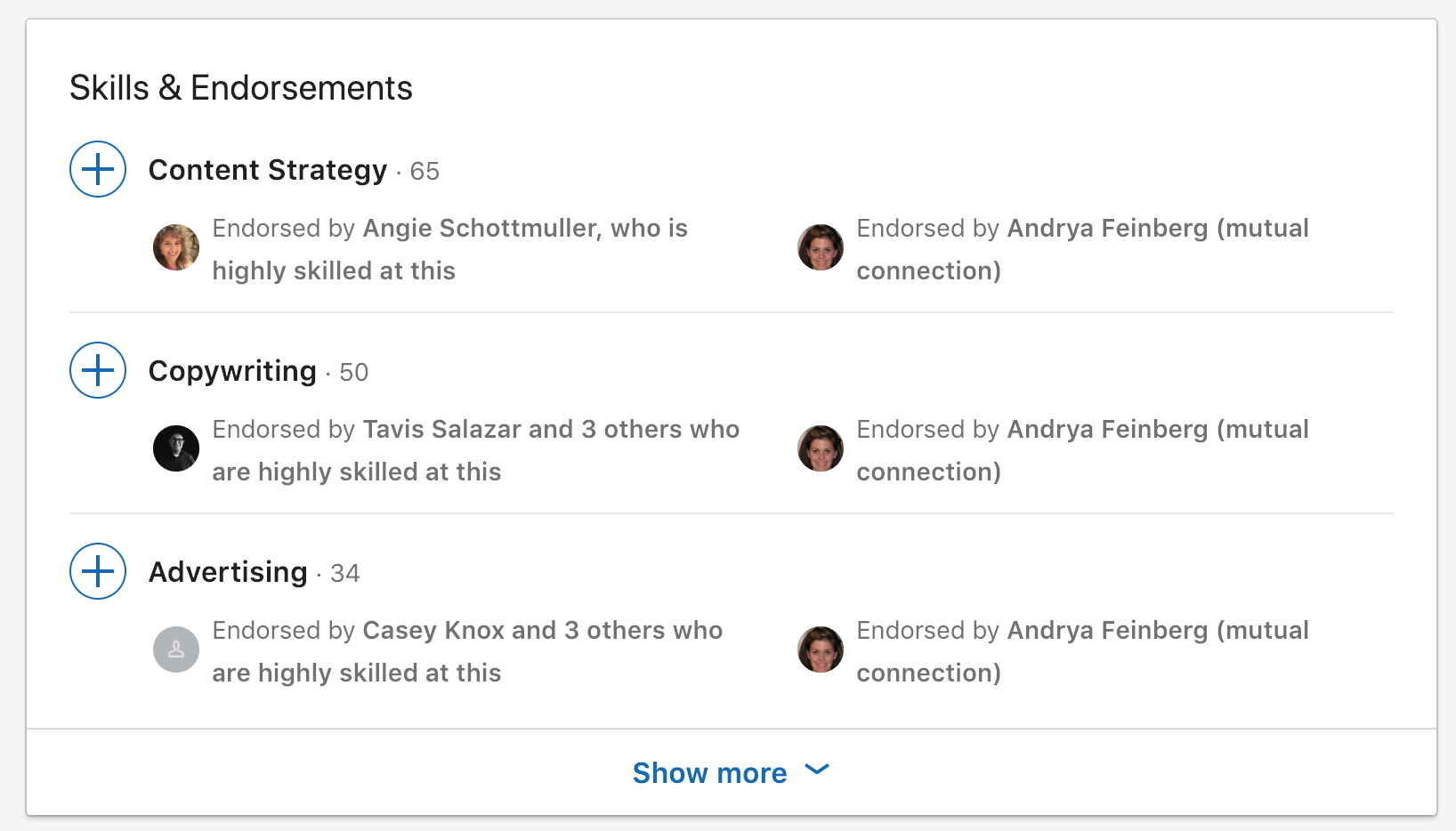 screenshot of Jess's LinkedIn endorsements