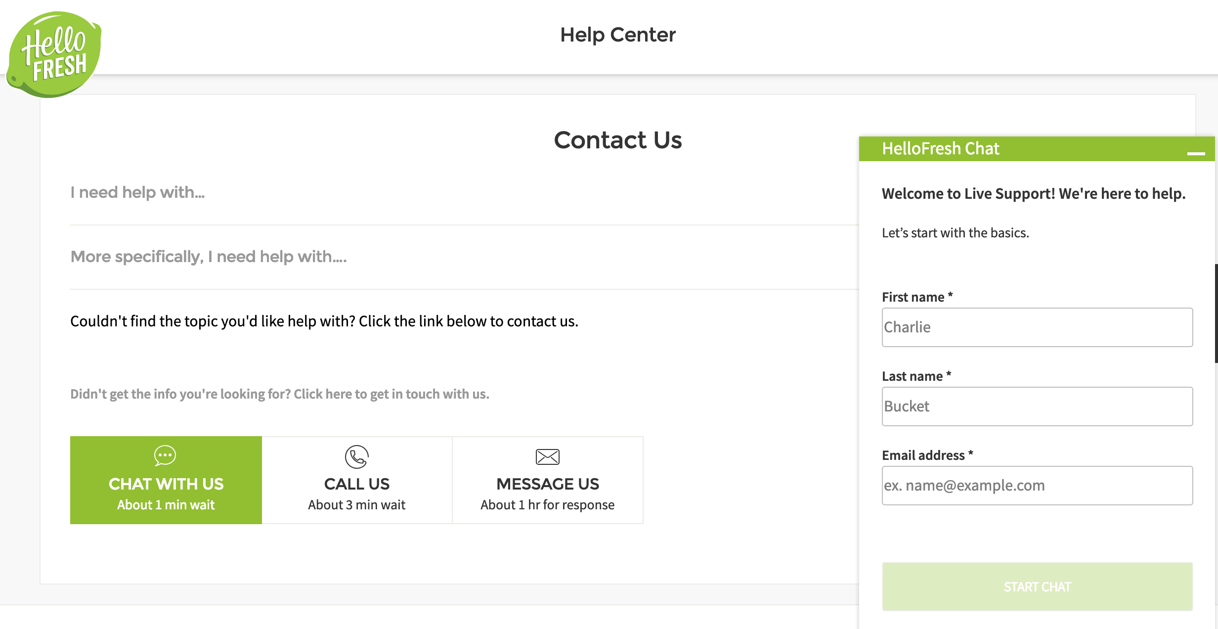 HelloFresh contact form provides samples of first and last name and email