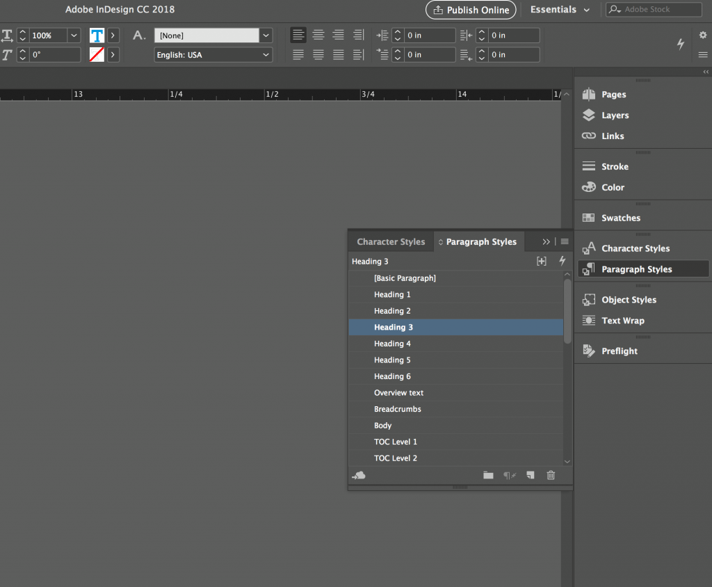 screen from an InDesign palette showing custom function shortcuts and groupings