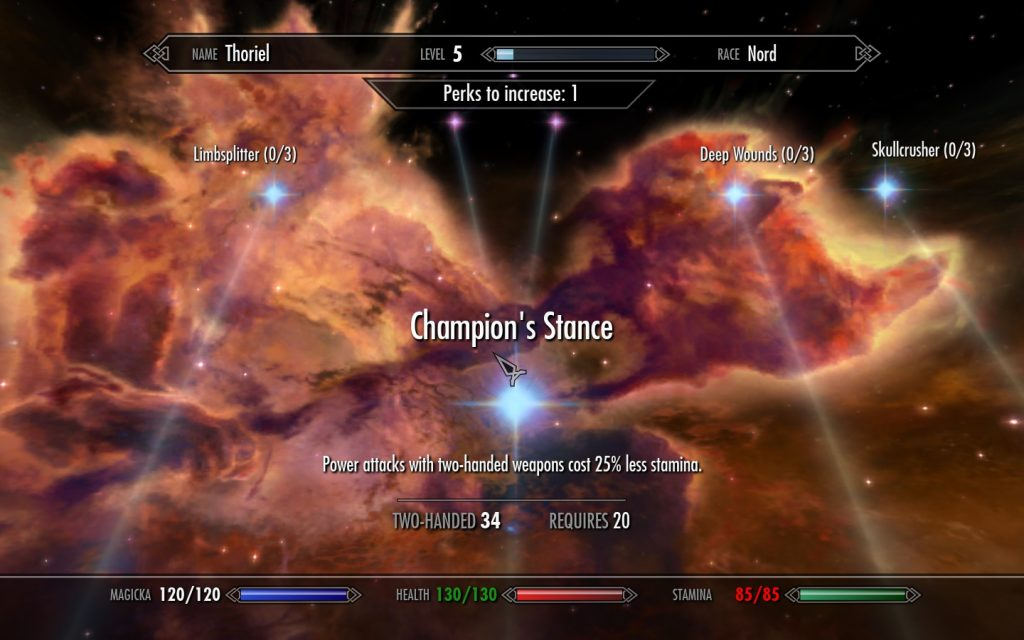 video game character stats and abilities displayed over beautiful constellation image