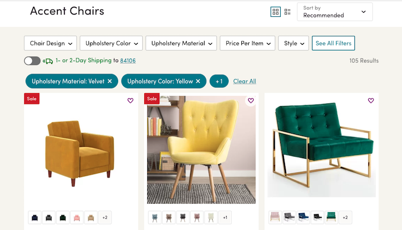 wayfair.com screen showing faceted search for arm chairs, including chair design, upholstery color, material, price, and so on