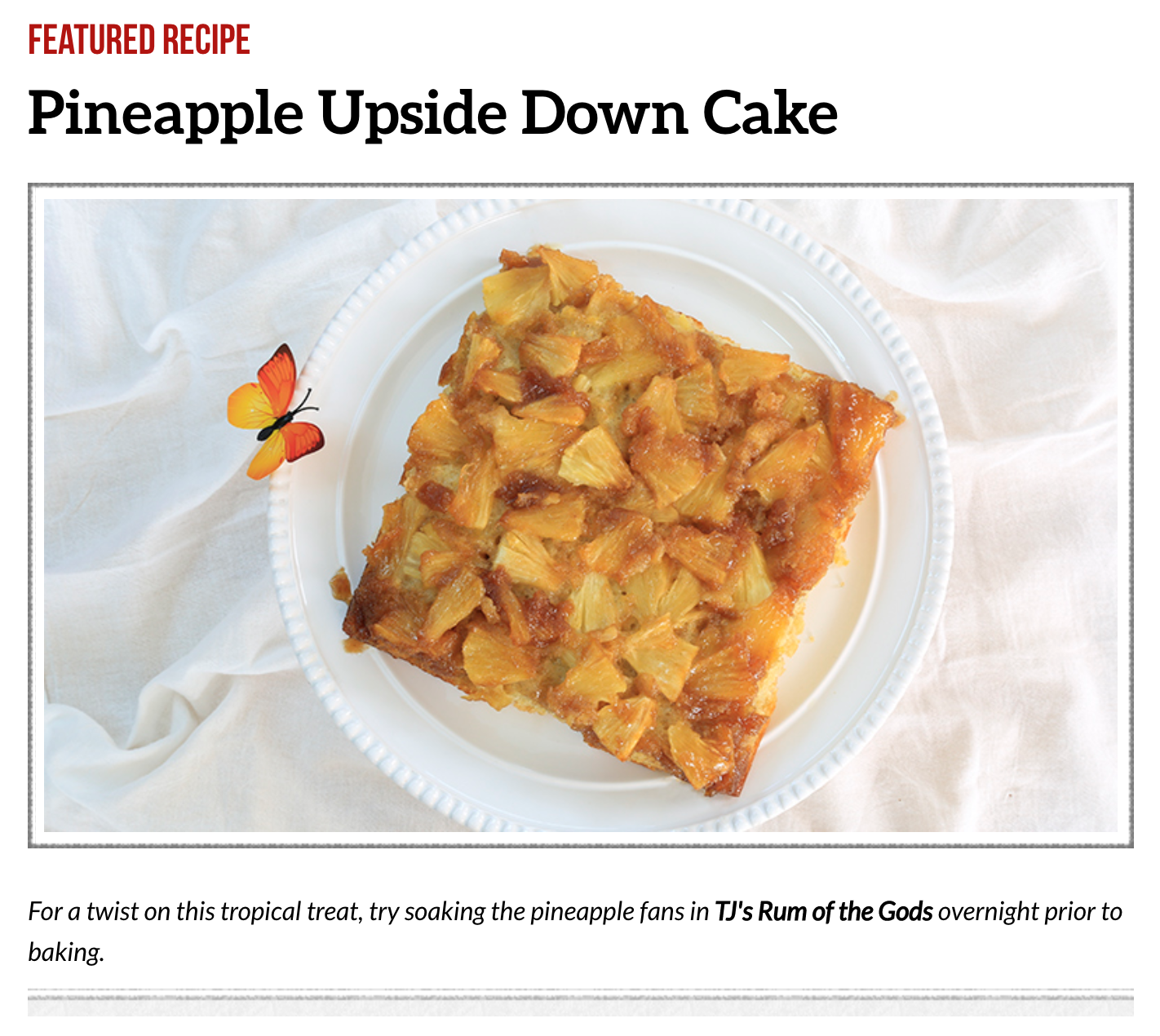 screenshot from the Trader Joe's website showing a recipe for pineapple upside down cake
