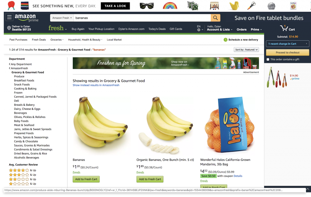 amazon home screen showing fresh bananas and oranges to be selected and added to cart