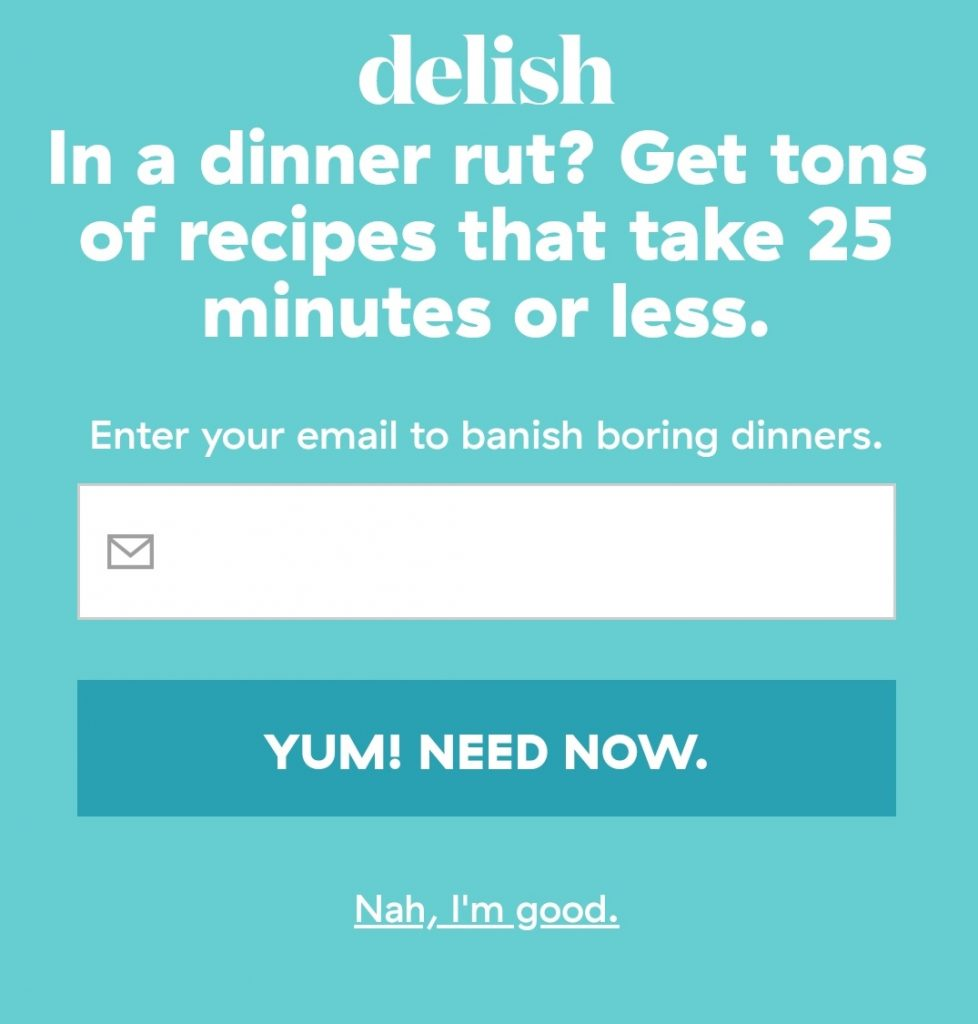 "new opt-out for same recipe emailing list; microcopy now says, ""nah, I'm good"""