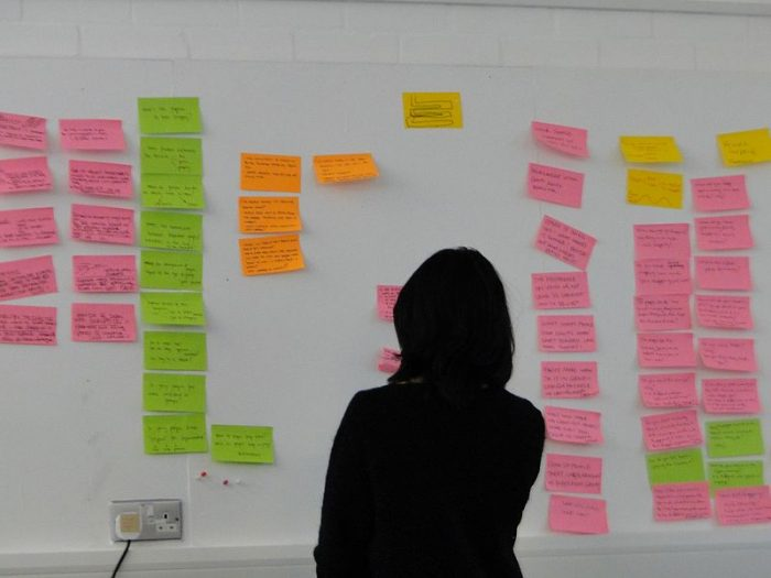 silhouette of a person standing in front of a whiteboard covered in sticky notes