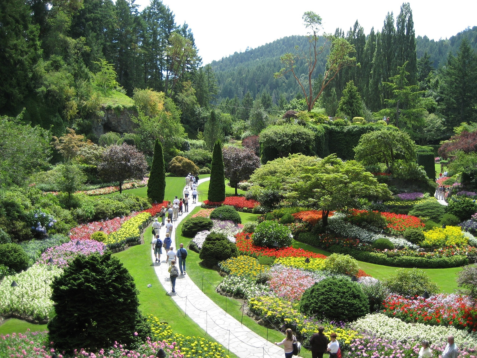 well maintained gardens with people walking the path