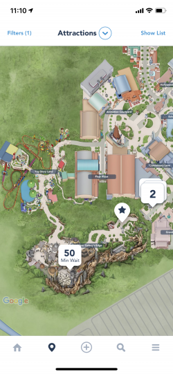 screenshot of the Disney app showing only the wait time for a Star Wars ride