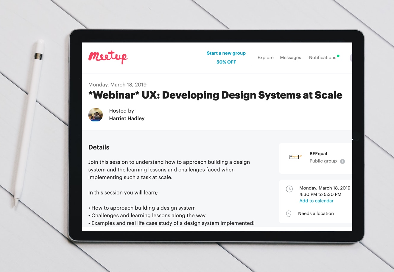 Screenshot of Meetup website showing a webinar invitation
