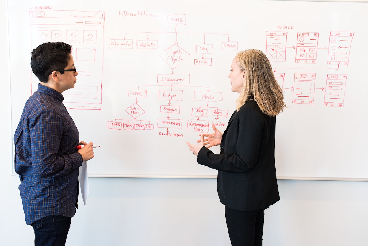 Two people meeting in front of a whiteboard
