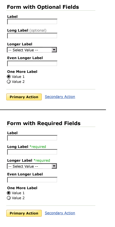 form optional required example
