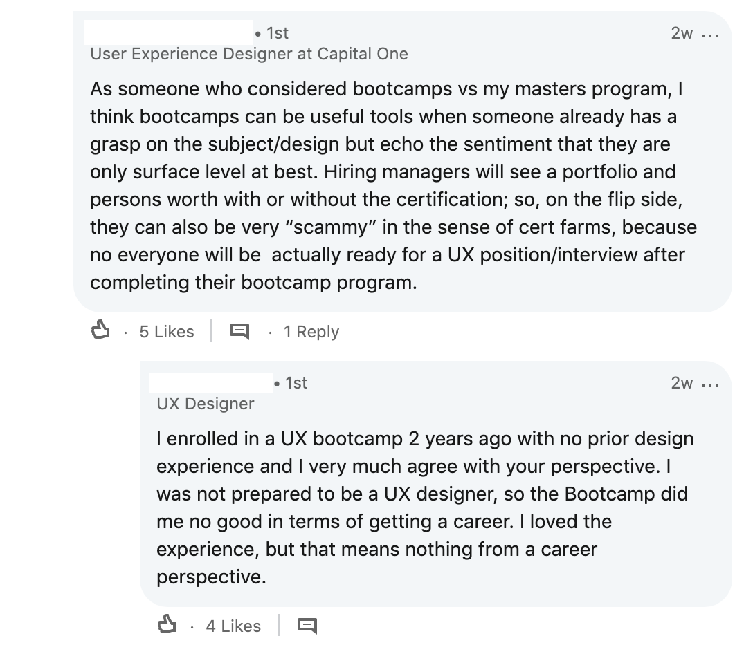 Screenshot of comments against bootcamps