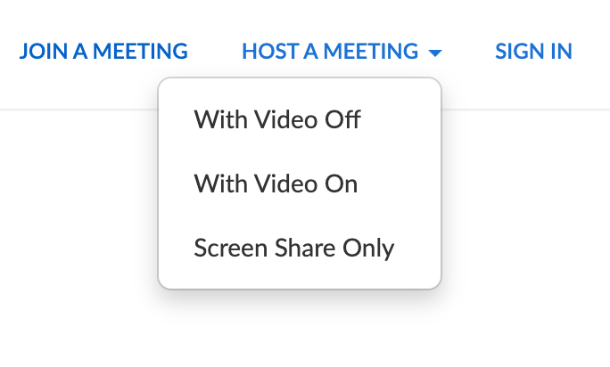 Screenshot of Zoom meeting menu