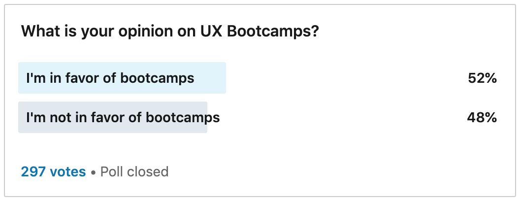 ux bootcamp poll results