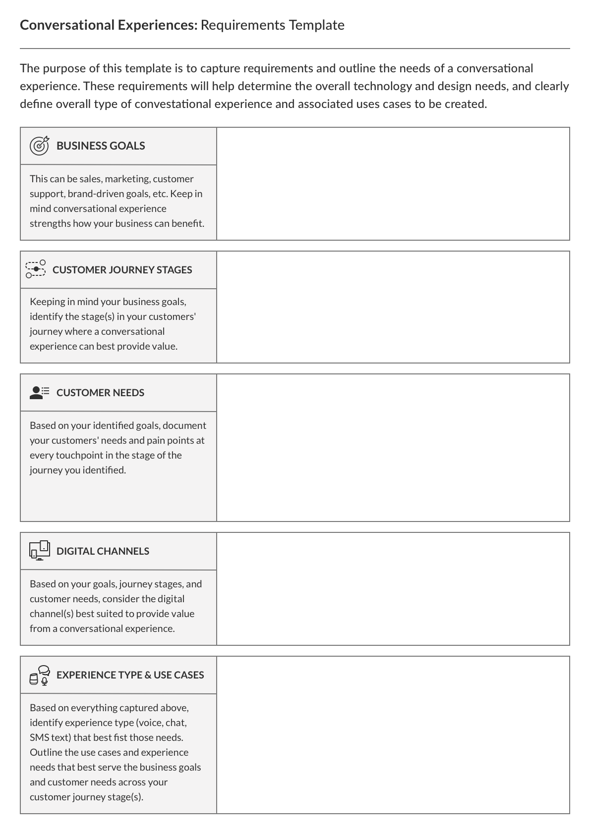 Conversational Experience: Requirements Template