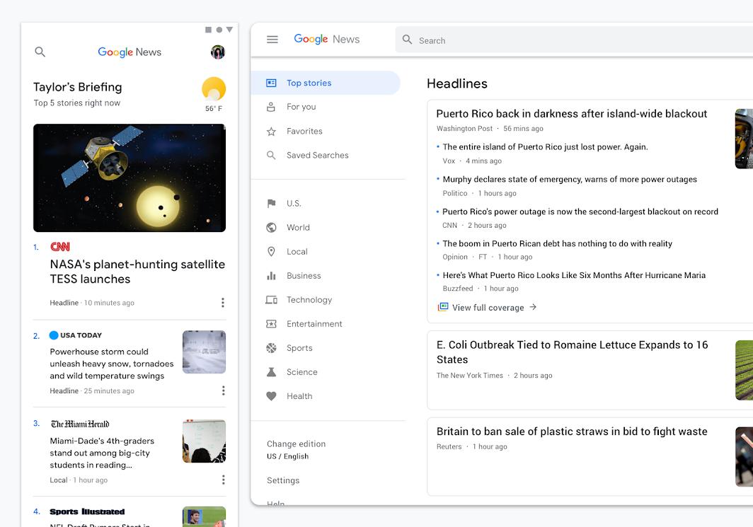 Screenshot of Google's Material Design patterns
