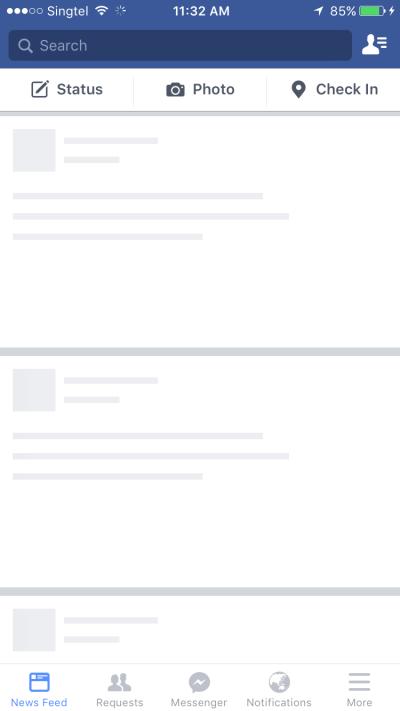 Screenshot of Facebook mobile app loading screen