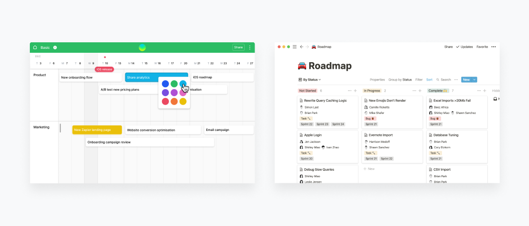Screenshot of Airtable app design