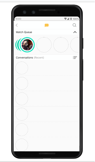 Screenshot example of a dating mobile app