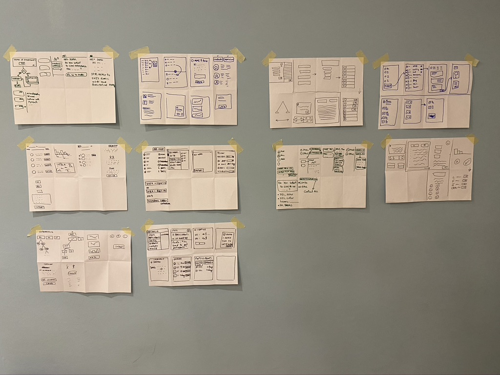 Crazy Eights wireframes posted on a wall