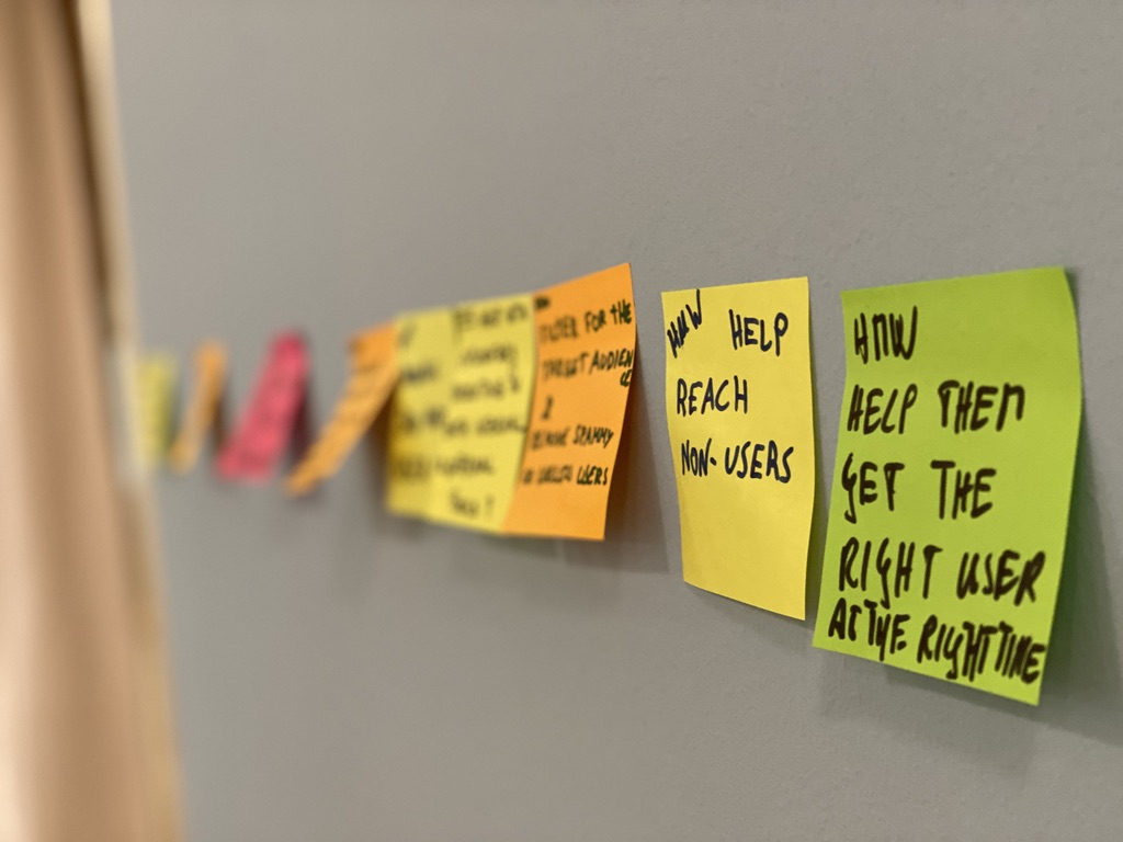 Post It notes used in brainstorming activity