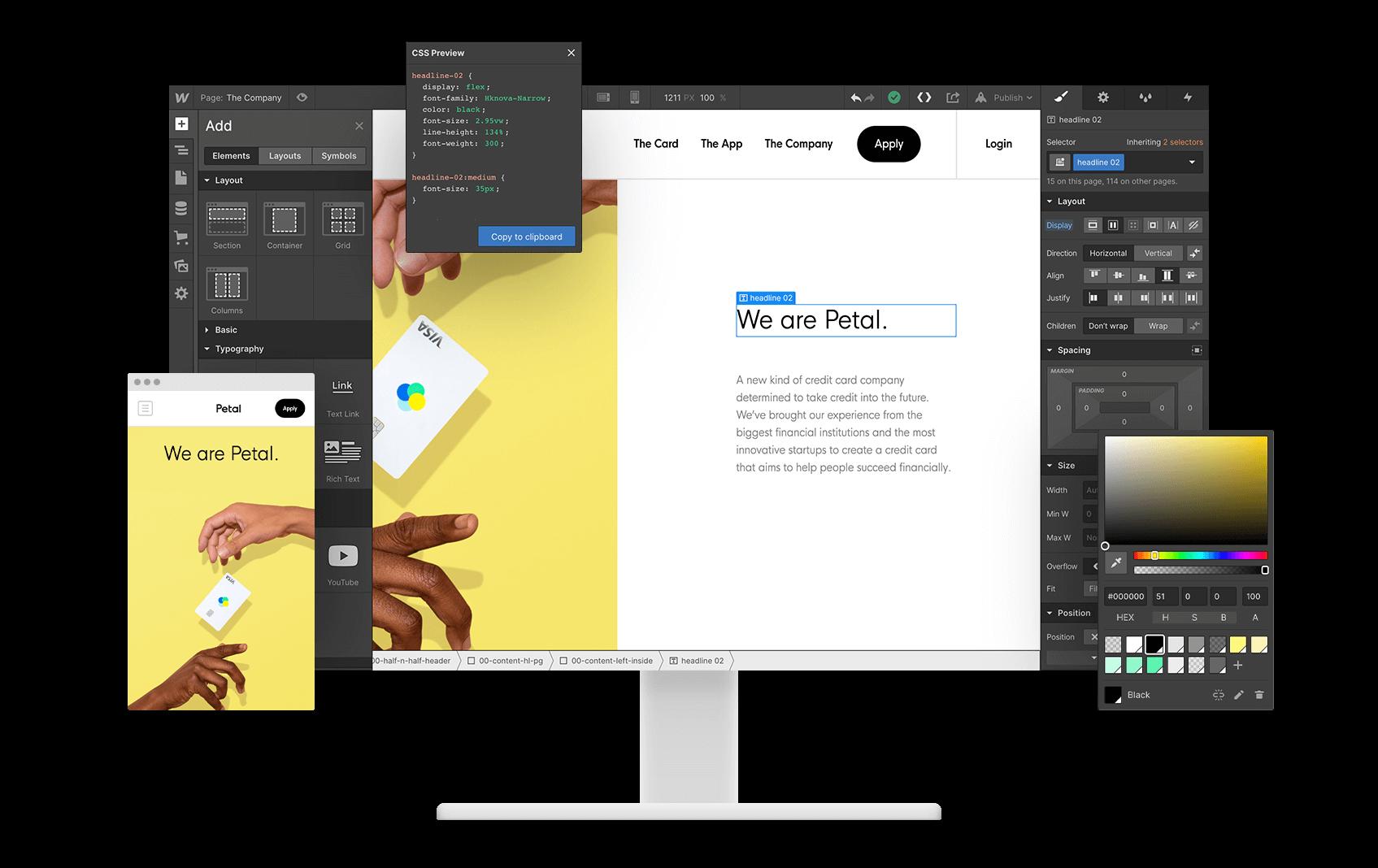 Captura de pantalla de la aplicación Webflow