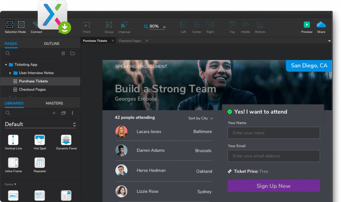 Captura de pantalla de la aplicación Axure
