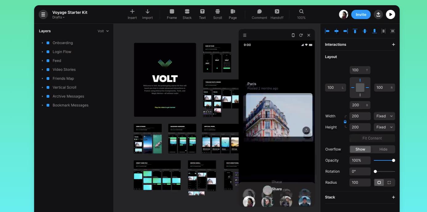 Captura de pantalla de la aplicación Framer