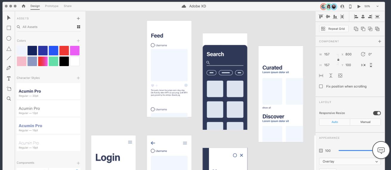 Una captura de pantalla de la aplicación AdobeXD