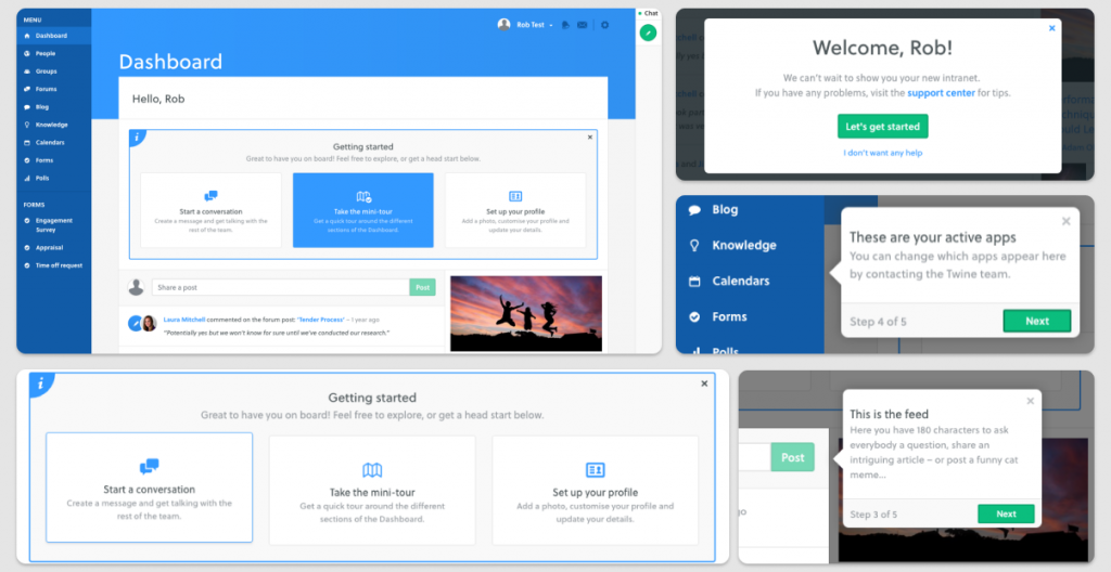 Screenshots of onboarding process examples