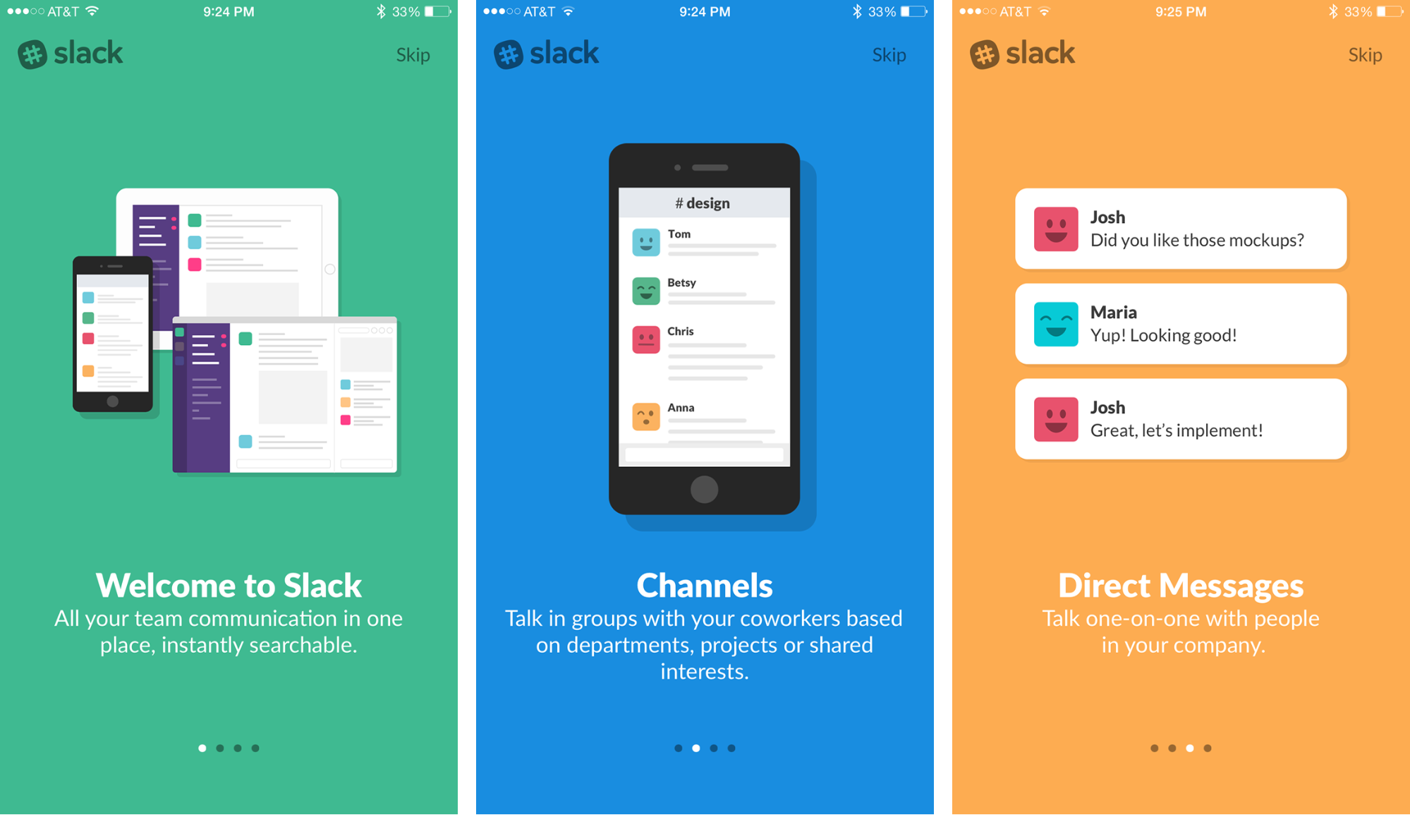 Onboarding UI of Slack Mobile App