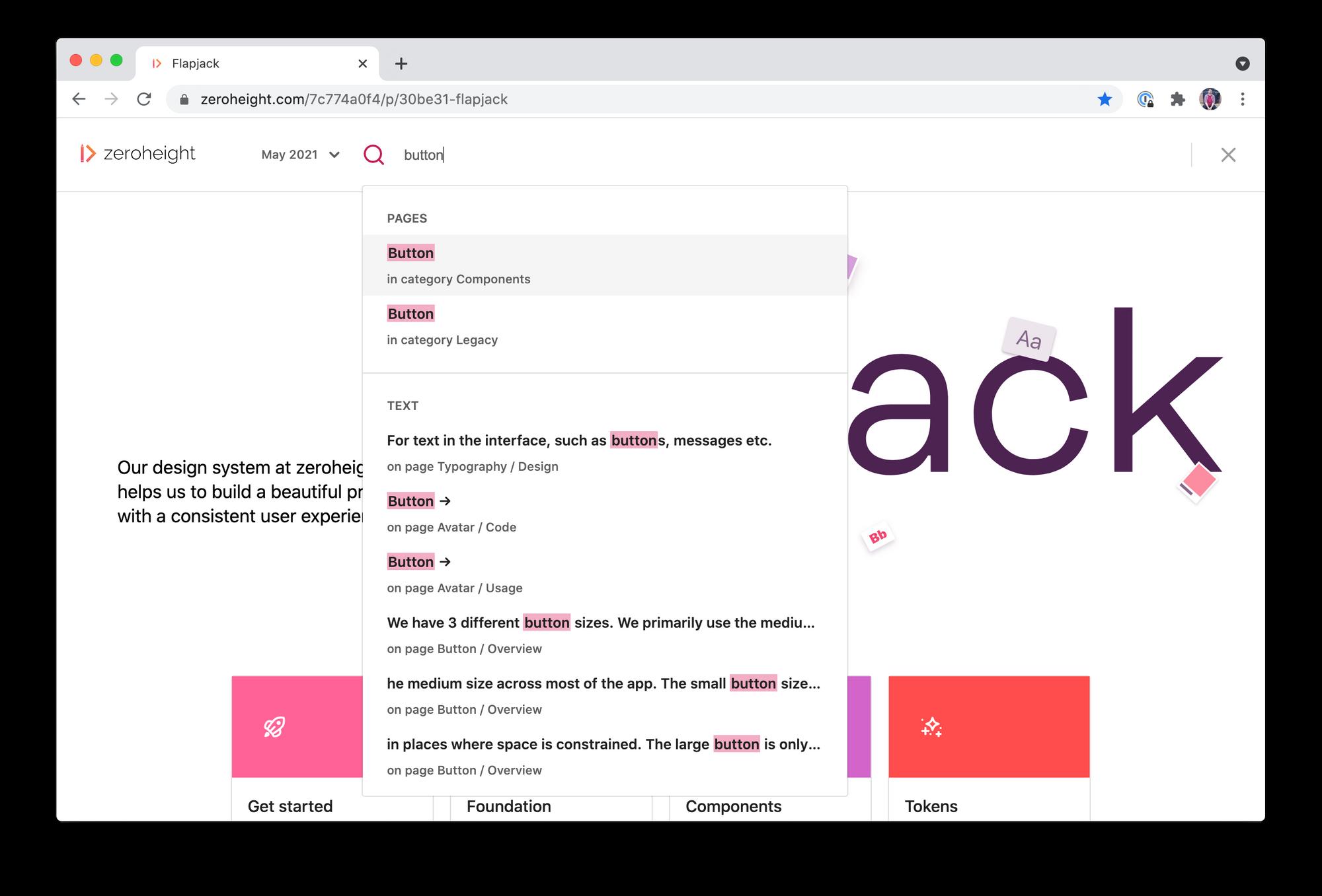 Screenshot of design system