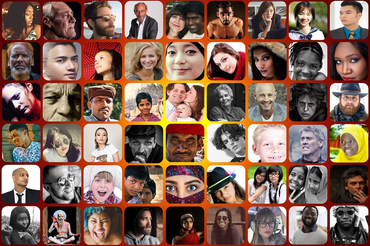 Grid of thumbnail images of people representing different ethnicities, ages, and genders