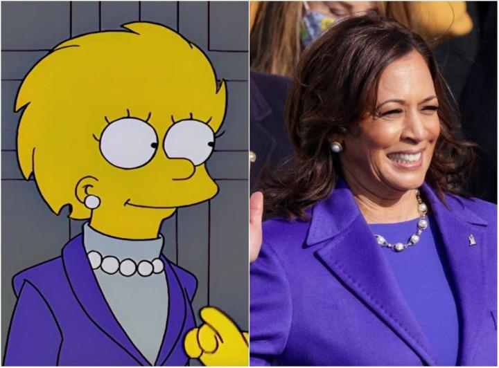 Siguiente foto de Lisa Simpson y Kamala Harris con ropa similar