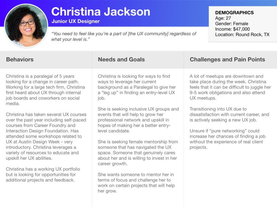 Persona example of a junior UX designer