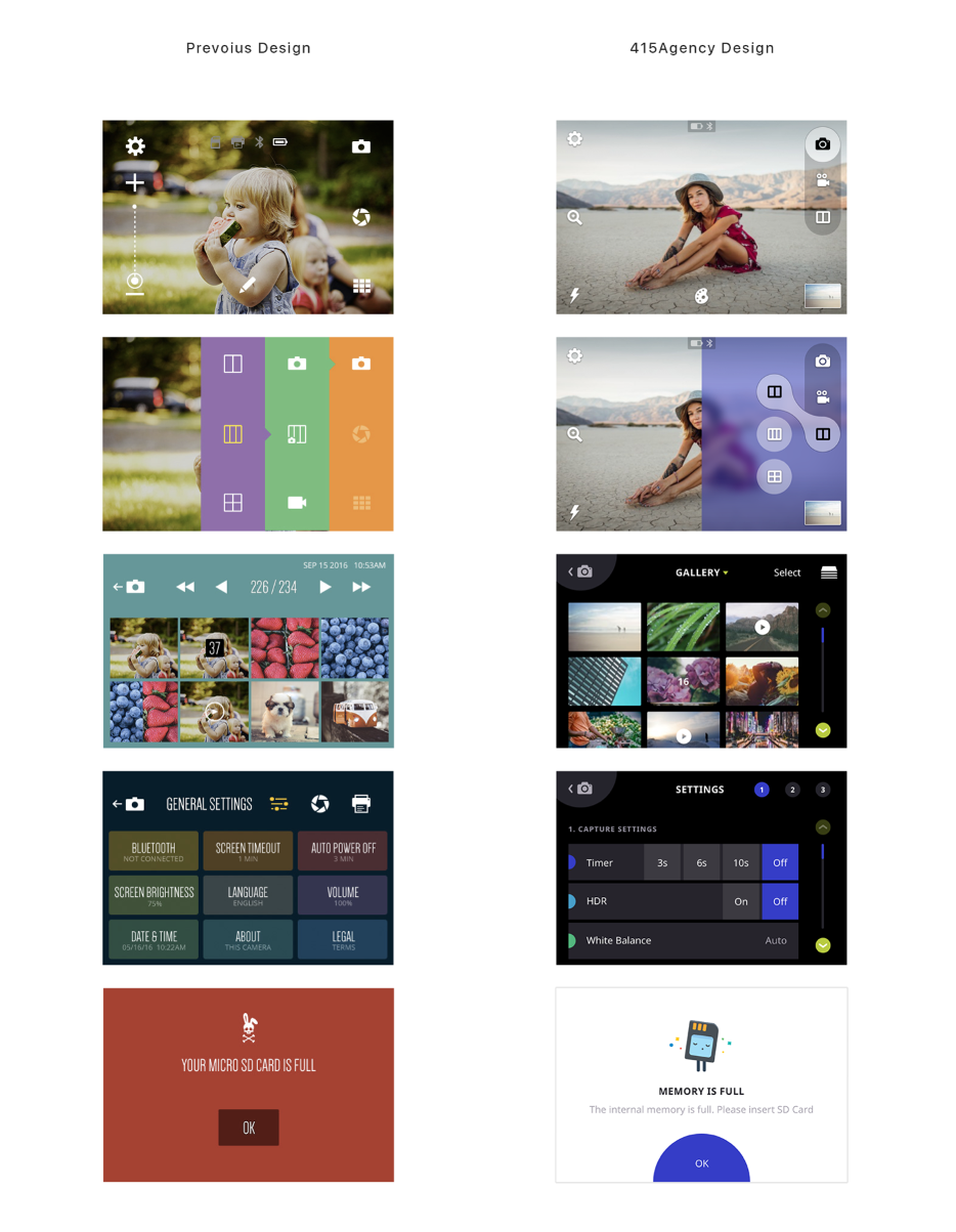 Thumbnail images of Polaroid user interface screens